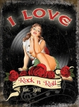"Metalowa tabliczka retro 30 x 40 cm ""I Love Rock & Roll"""