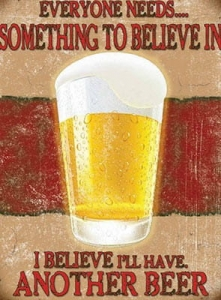 "Metalowa tabliczka retro 15 x 20 cm ""Beer - I believe I'll have another beer"""